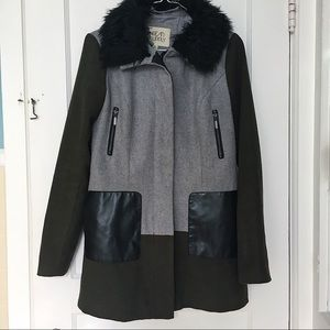 Faux Fur + Army Green Hooded Winter Coat